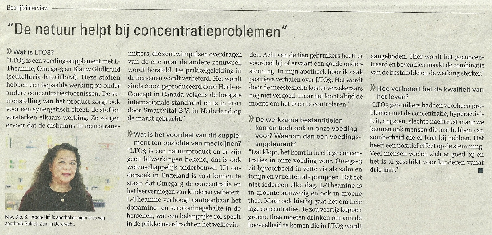 Artikel over LTO3 in De Telegraaf